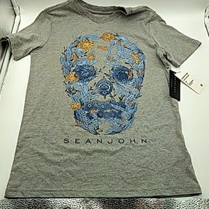SeanJohn womens v neck t shirt gray M NEW!